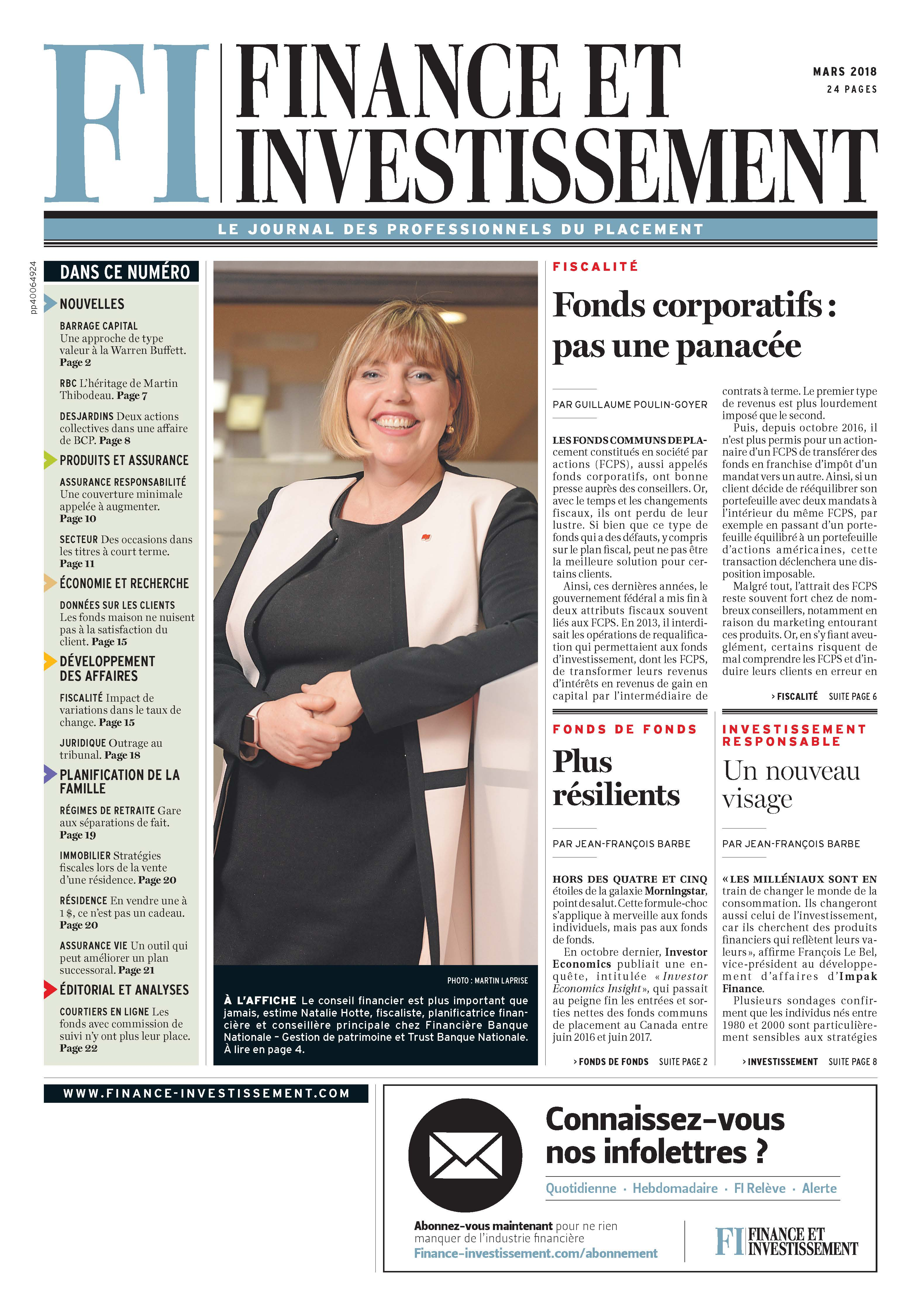 Finance et Investissement – 1 mars 2018