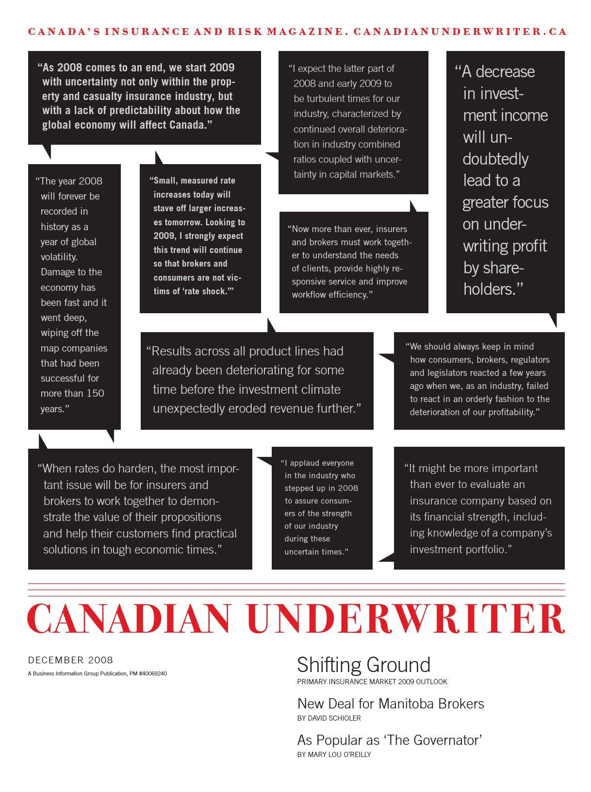 Canadian Underwriter – 1 décembre 2008